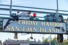 圣胡安海岛, WA - 2017年8月15日:星期五港口叹气,圣 免版税库存照片