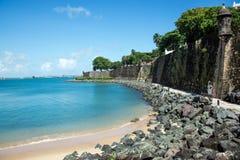 圣胡安,波多黎各海岸  免版税图库摄影