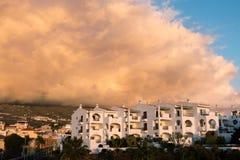圣胡安, TENERIFE/SPAIN - 2015年1月16日:在卡亚俄S的日落 免版税库存图片