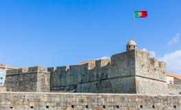 圣若昂da福兹堡垒侧视图在波尔图,葡萄牙 库存照片