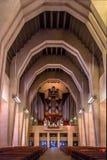 圣若瑟与大教堂器官-蒙特利尔,魁北克,加拿大的` s讲说术内部  库存图片