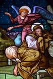 圣若瑟教会污迹玻璃窗  免版税库存照片
