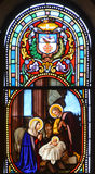 圣若瑟教会污迹玻璃窗  免版税库存图片