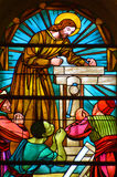 圣若瑟教会污迹玻璃窗  库存照片