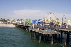 圣莫尼卡海滩码头 免版税库存图片