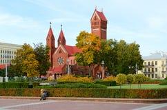 圣西梅昂天主教会和圣赫勒拿红色教会,米斯克,白俄罗斯 库存照片