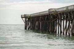 圣西梅昂码头,加利福尼亚,从海滩的美国 库存照片