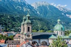 圣詹姆斯大教堂在因斯布鲁克,奥地利 免版税库存图片