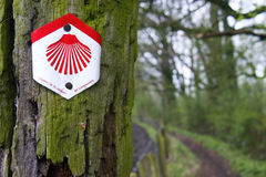圣詹姆斯方式的路标在比利时 免版税库存图片