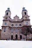 圣詹姆斯,因斯布鲁克,奥地利大教堂  库存图片