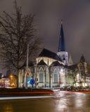 圣詹姆斯`教会,安特卫普Sint-Jacobskerk在跟特在晚上 免版税库存照片