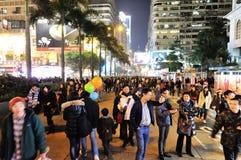 圣诞前夕在香港 免版税库存图片