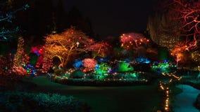 圣诞前夕在Butchart庭院里,维多利亚, BC 库存照片