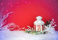 圣诞前夕灯笼和装饰背景 库存照片