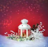 圣诞前夕灯笼和装饰背景 免版税库存图片