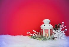 圣诞前夕灯笼和装饰背景 库存图片