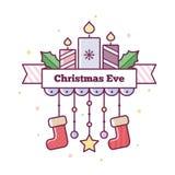 圣诞前夕礼品节假日许多装饰品 也corel凹道例证向量 库存图片