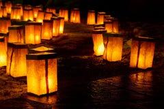 圣诞前夕Luminarias 库存图片