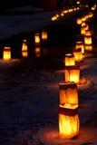 圣诞前夕Luminarias 库存照片