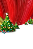 圣诞卡、冷杉和礼品 免版税库存图片