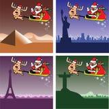 圣诞卡、圣诞老人和鹿旅行 图库摄影