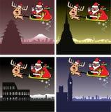 圣诞卡、圣诞老人和鹿旅行 免版税库存图片