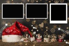 圣诞卡倒空照片框架 免版税库存照片