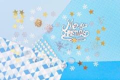 圣诞卡做和小块的明亮和发光的辅助部件 免版税图库摄影