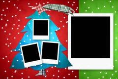 圣诞卡四照片框架 库存照片