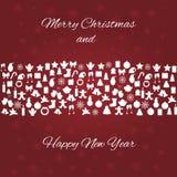 圣诞卡有多雪的背景和白色元素 库存照片