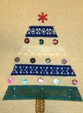 圣诞卡树做用您自己的手 免版税库存图片