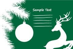 圣诞卡片在绿色,储蓄传染媒介例证播种的身分驯鹿 向量例证