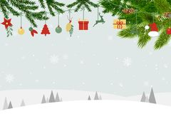 圣诞卡片有蓝色背景和圣诞老人装饰品 库存例证