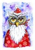 圣诞卡片猫头鹰 向量例证