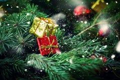 圣诞卡红色金黄箱子杉树葡萄酒 库存图片