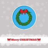 圣诞卡花圈模板 库存照片