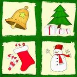 圣诞卡设置与四张图片 免版税库存照片
