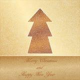 圣诞卡,在金背景的典雅的鞋带 免版税库存照片