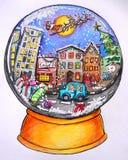 圣诞卡:圣诞节来临到镇 免版税图库摄影