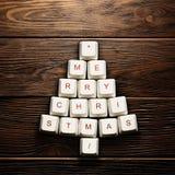 圣诞卡-圣诞树由计算机键盘做成 免版税图库摄影