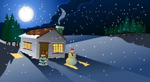 圣诞夜室外视图 免版税库存图片