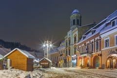 圣诞夜都市风景 免版税库存图片