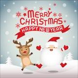 圣诞快乐、圣诞老人和鲁道夫 库存图片