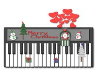 圣诞快乐、钢琴、圣诞老人、雪人,圣诞树和礼物 库存图片