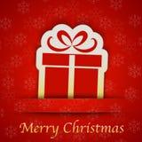 圣诞快乐与一个简单的礼物标志的礼品券 免版税库存图片