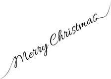 圣诞快乐与书法的贺卡 库存图片