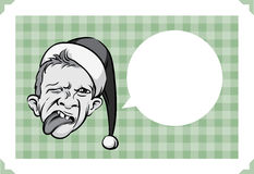 圣诞快乐与做鬼脸的矮子面孔的贺卡 皇族释放例证