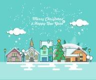 圣诞快乐与冬天城市的贺卡 新年好愿望 在平的线现代样式的海报 免版税图库摄影
