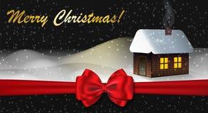 圣诞快乐与冬天风景的贺卡 免版税库存照片