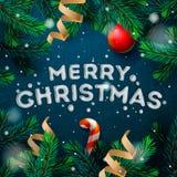 圣诞快乐与冷杉枝杈的贺卡 皇族释放例证